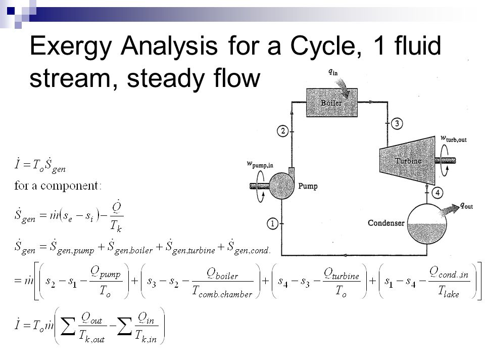 Exergy Analysis for a Cycle, 1 fluid stream, steady flow