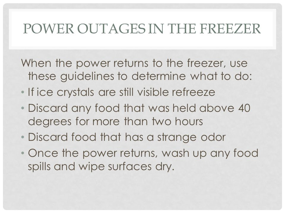 Power Outages in the Freezer