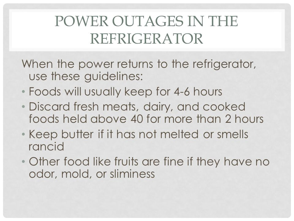 Power outages in the Refrigerator