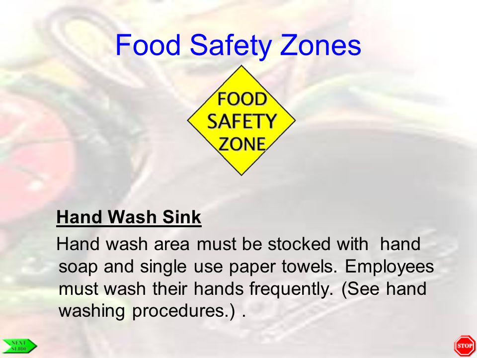 Food Safety Zones Hand Wash Sink