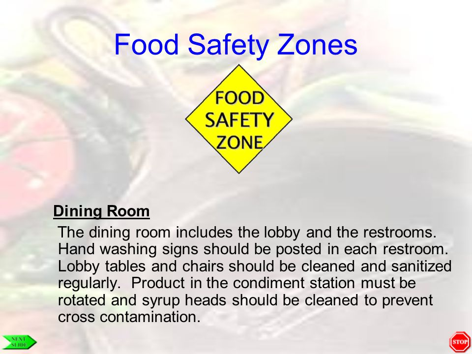 Food Safety Zones Dining Room