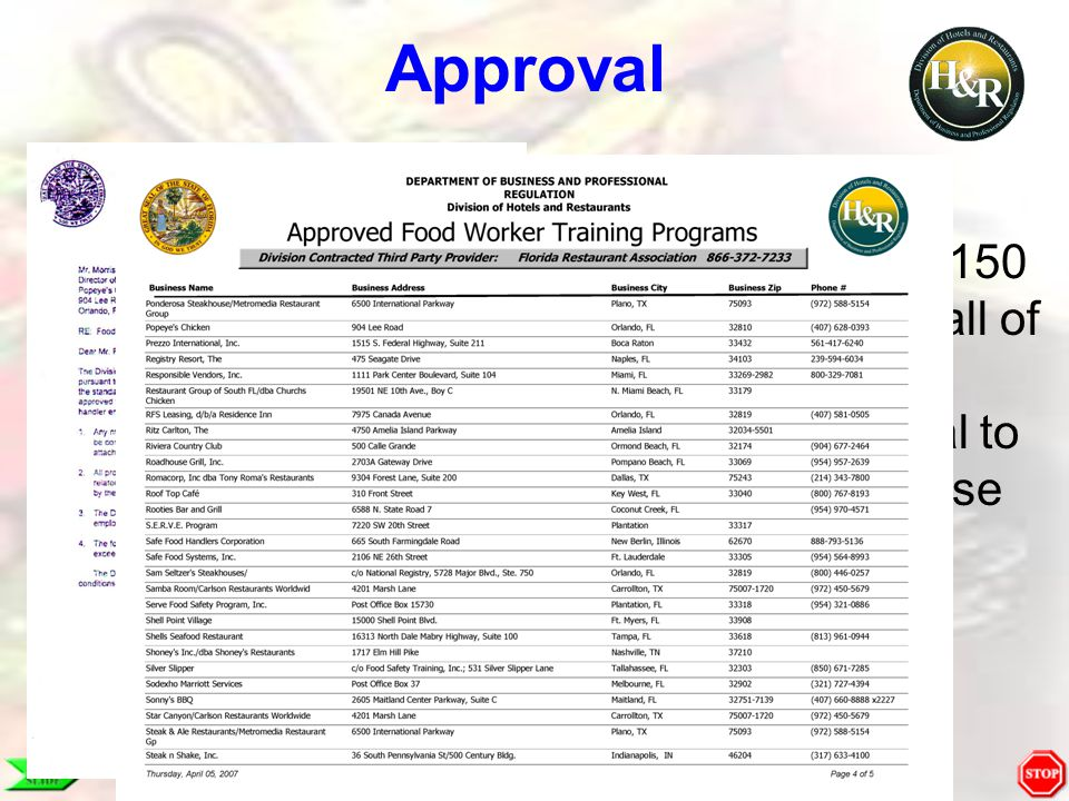 Approval We are one of approximately 150 businesses in all of Florida to have DBPR approval to conduct in-house training.