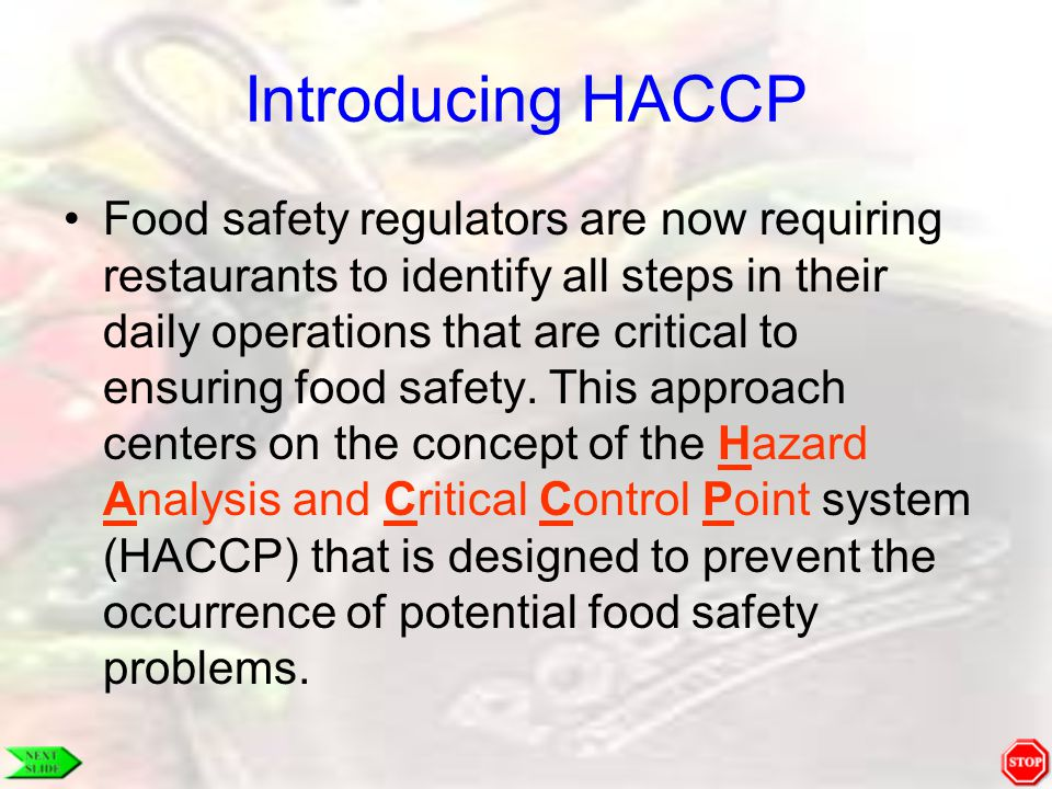 Introducing HACCP
