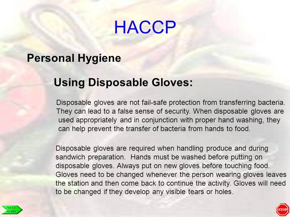 HACCP Personal Hygiene Using Disposable Gloves:
