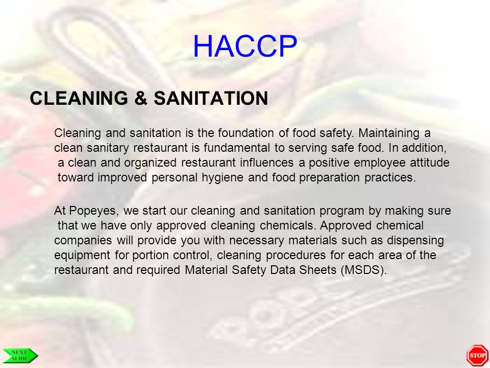 HACCP CLEANING & SANITATION