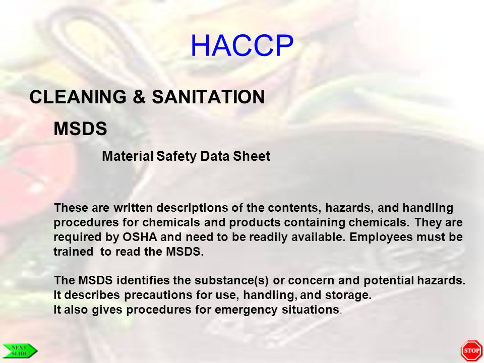 HACCP CLEANING & SANITATION MSDS Material Safety Data Sheet
