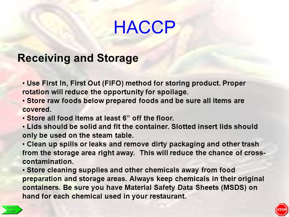 HACCP Receiving and Storage