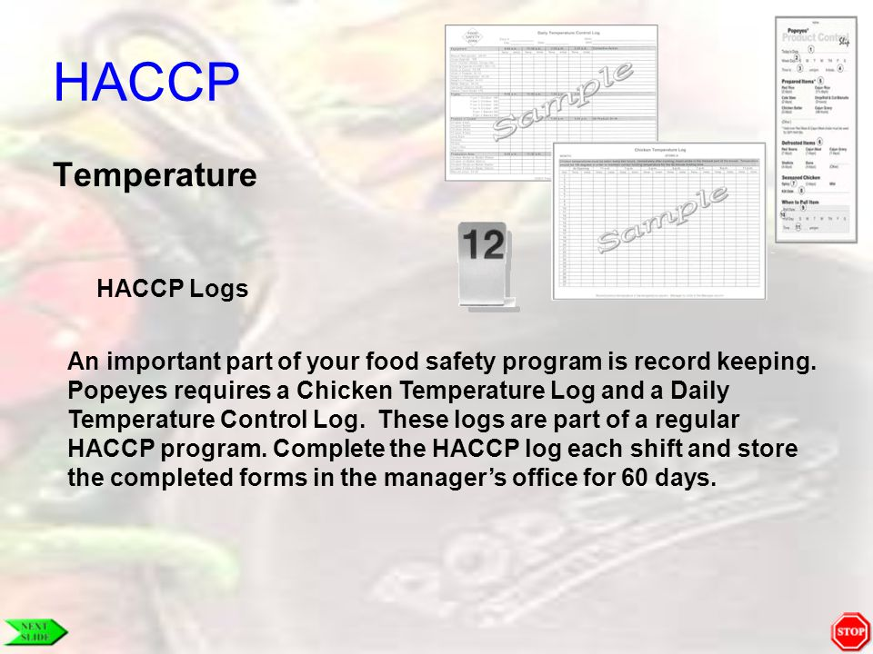 HACCP Temperature HACCP Logs