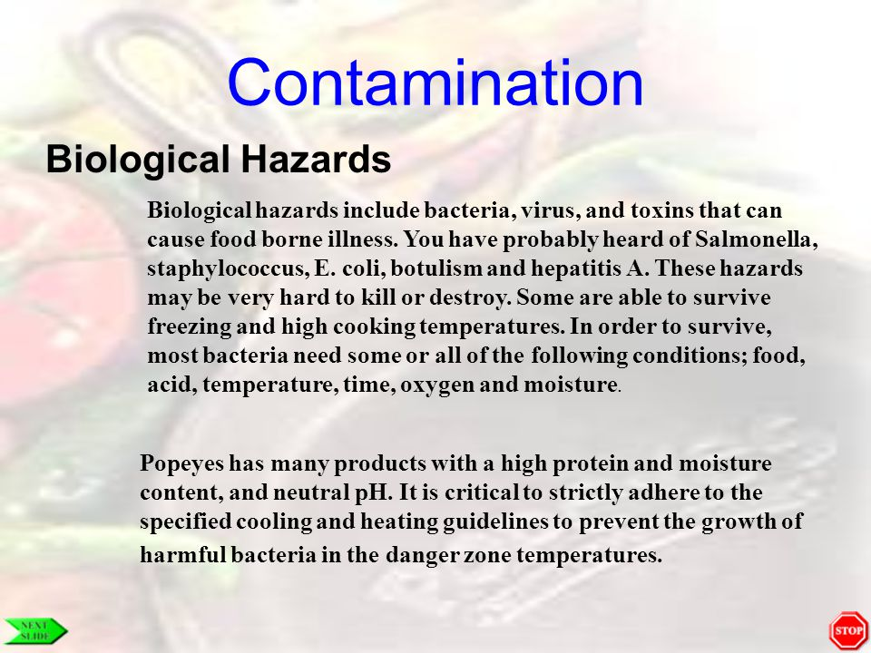 Contamination Biological Hazards