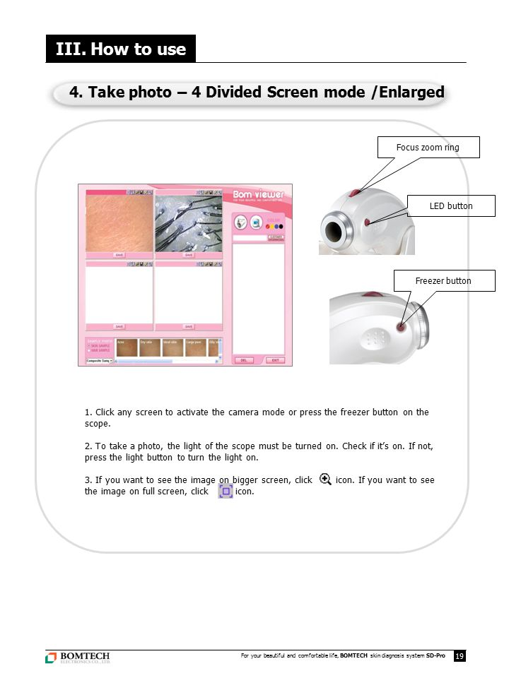 III. How to use 4. Take photo – 4 Divided Screen mode /Enlarged