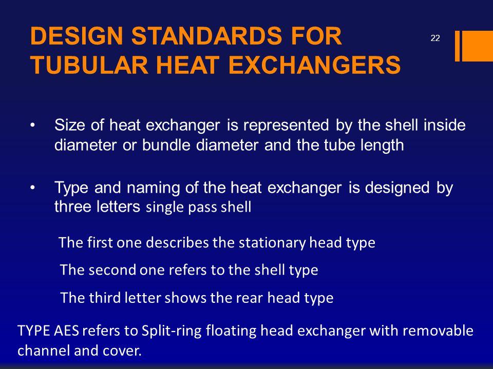 DESIGN STANDARDS FOR TUBULAR HEAT EXCHANGERS