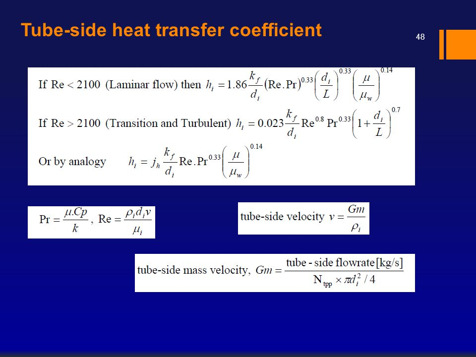 Tube-side heat transfer coefficient