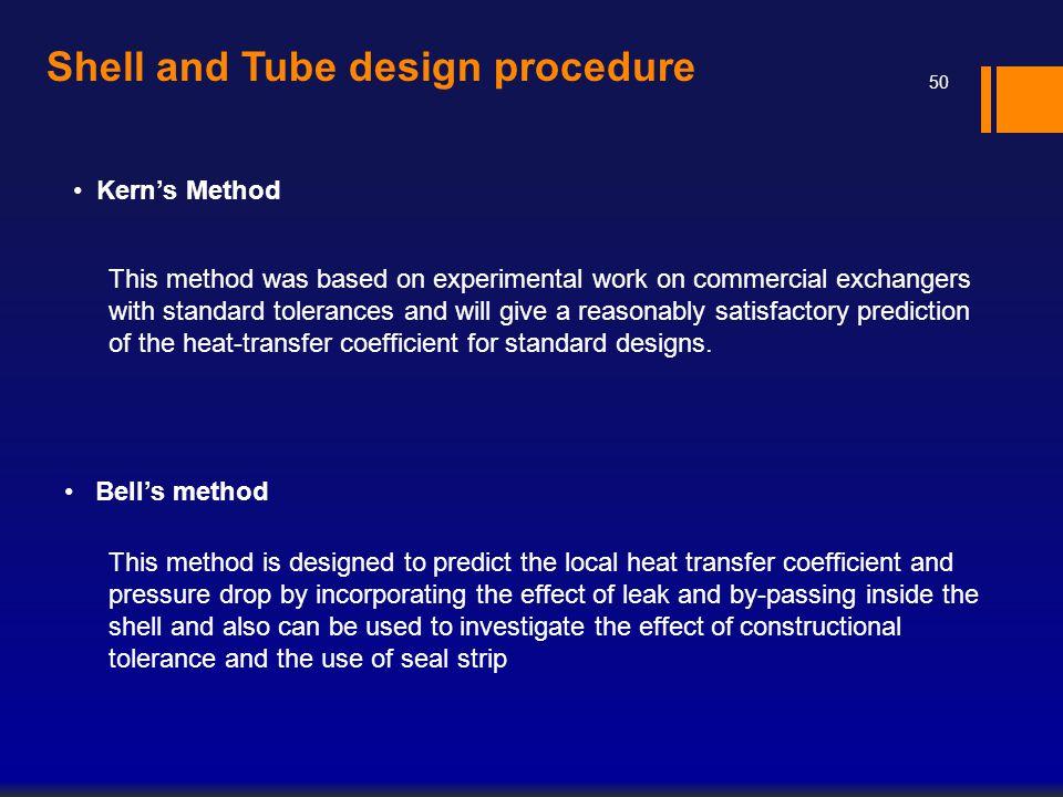 Shell and Tube design procedure