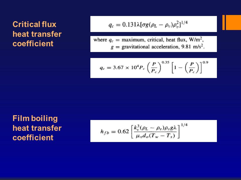 Critical flux heat transfer coefficient