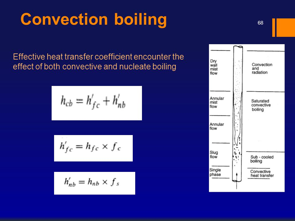 Convection boiling Effective heat transfer coefficient encounter the effect of both convective and nucleate boiling.