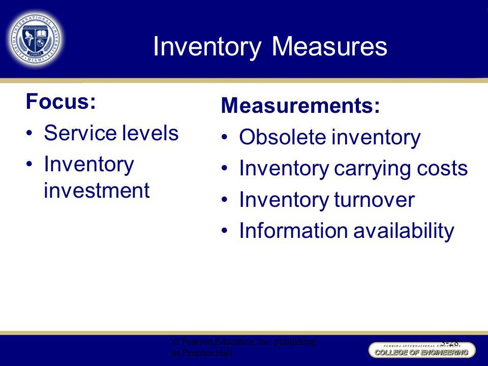 Inventory Measures Focus: Measurements: Service levels