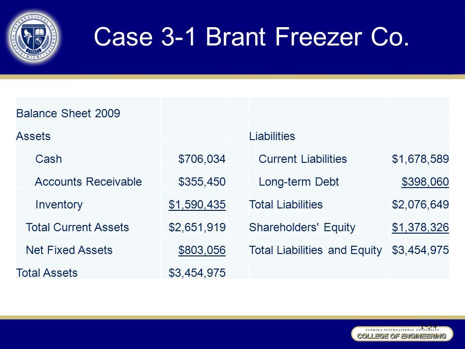 Case 3-1 Brant Freezer Co. Balance Sheet 2009 Assets Liabilities Cash