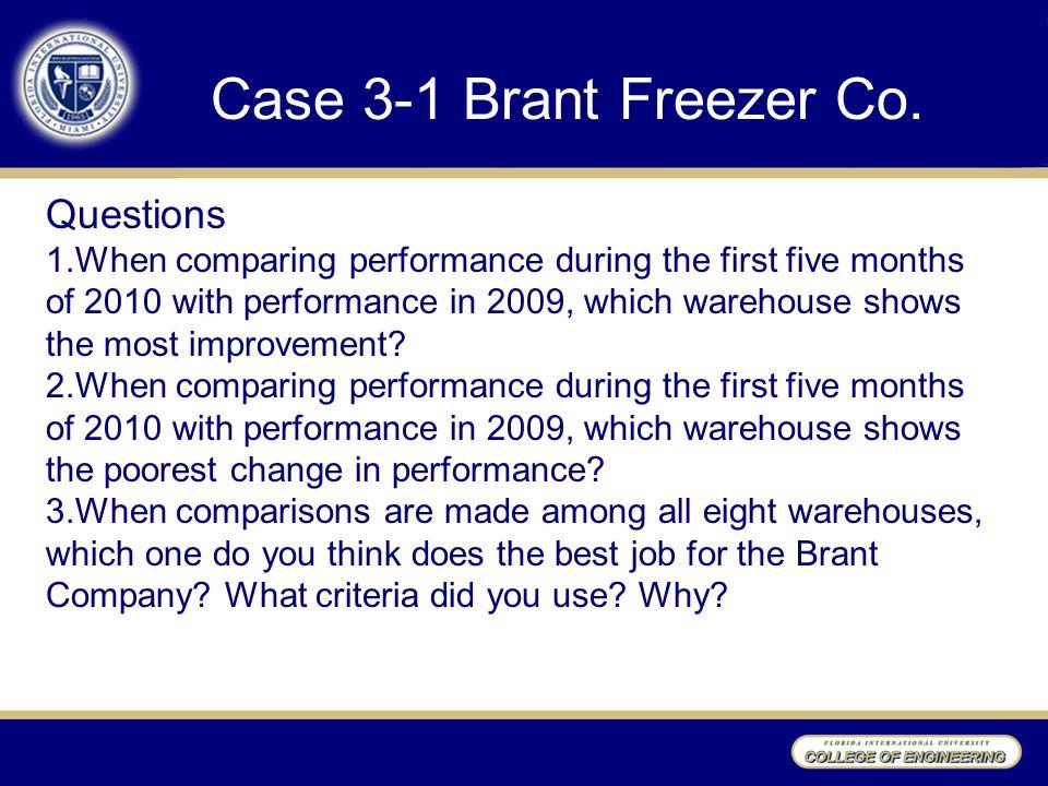 Case 3-1 Brant Freezer Co. Questions