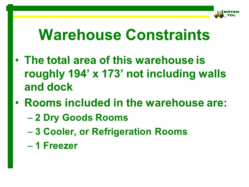 Warehouse Constraints