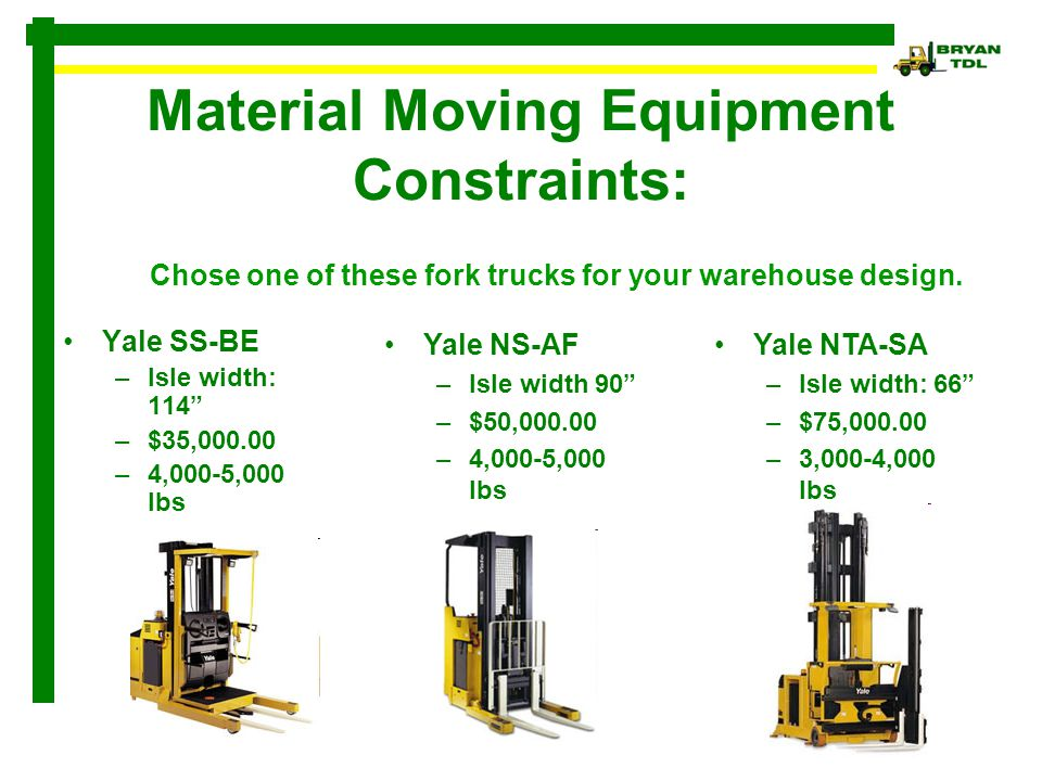 Material Moving Equipment Constraints: