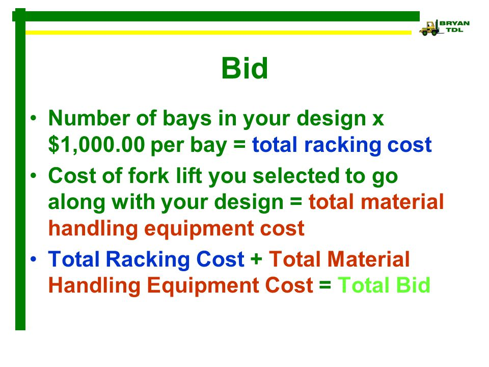 Bid Number of bays in your design x $1,000.00 per bay = total racking cost.