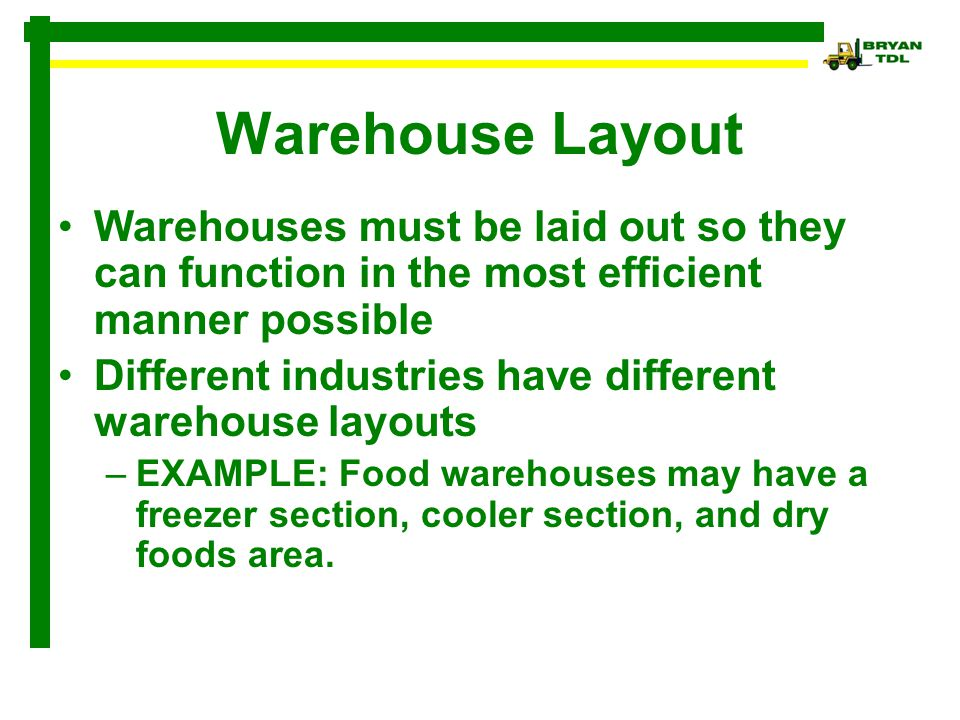 Warehouse Layout Warehouses must be laid out so they can function in the most efficient manner possible.