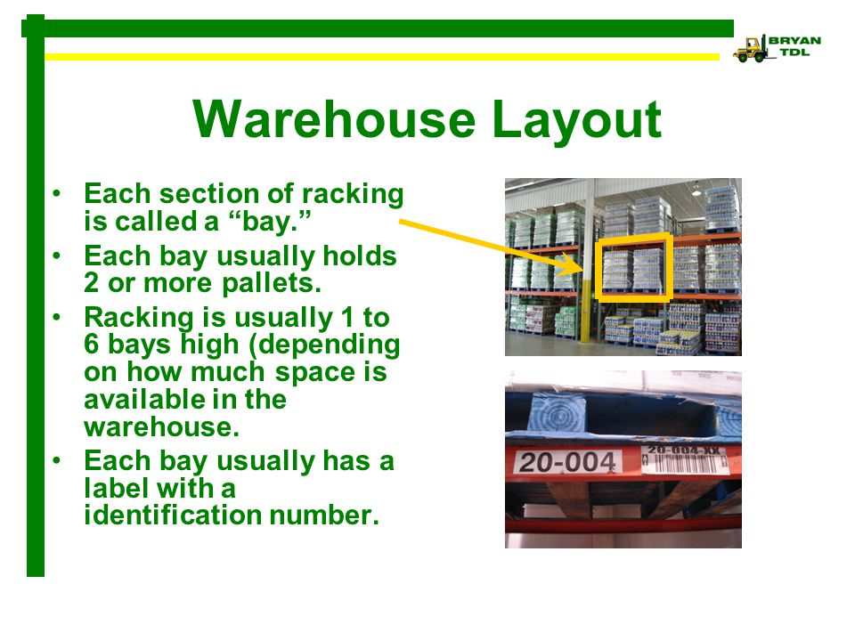 Warehouse Layout Each section of racking is called a bay.