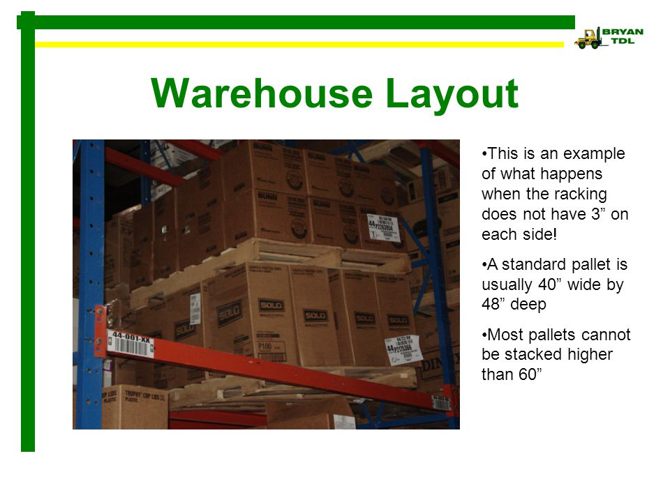 Warehouse Layout This is an example of what happens when the racking does not have 3 on each side!