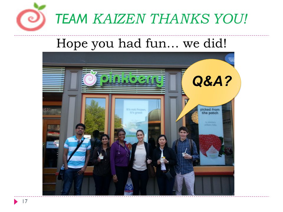 TEAM KAIZEN THANKS YOU! Hope you had fun… we did! Q&A