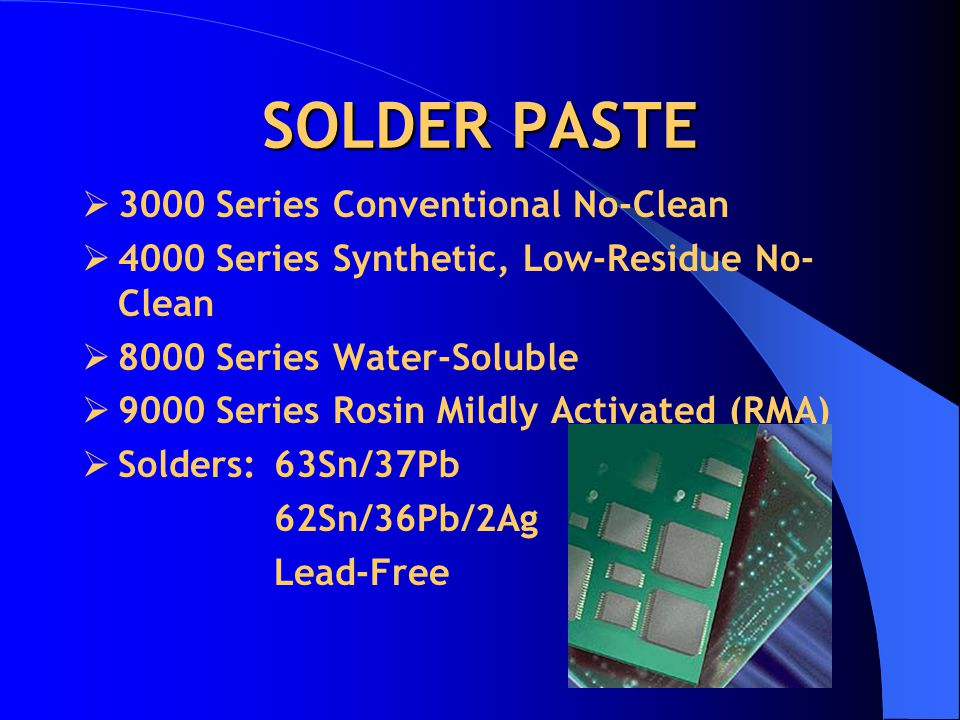 SOLDER PASTE 3000 Series Conventional No-Clean