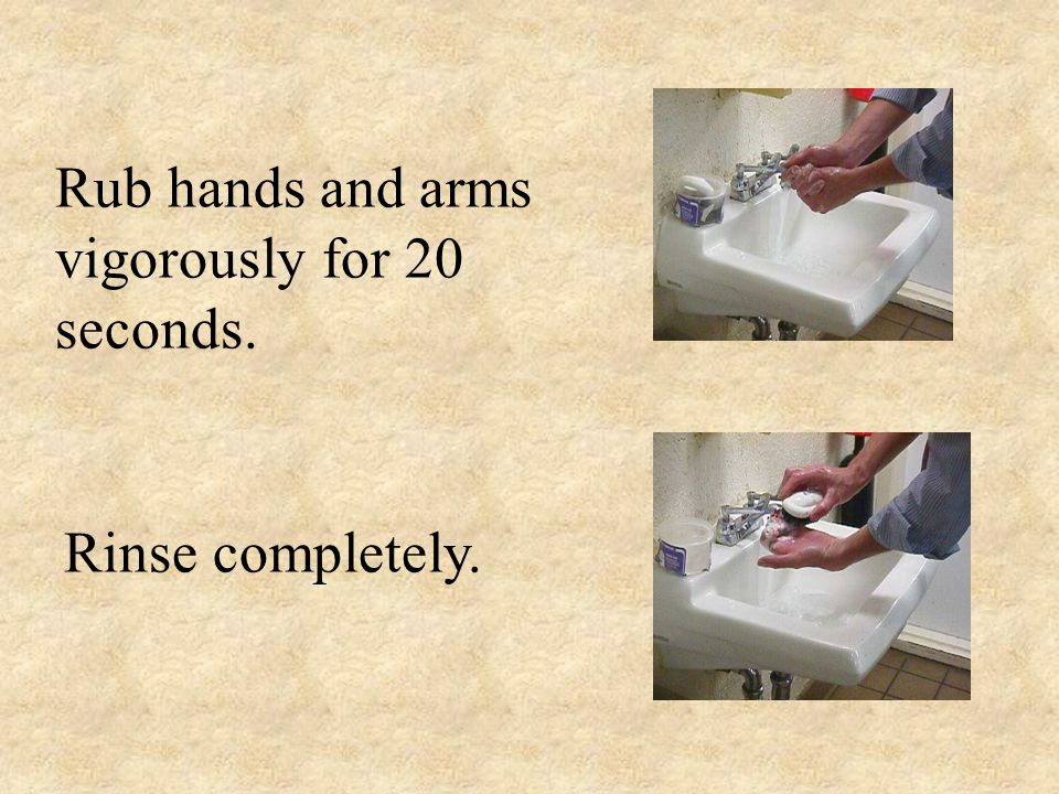 Rub hands and arms vigorously for 20 seconds.