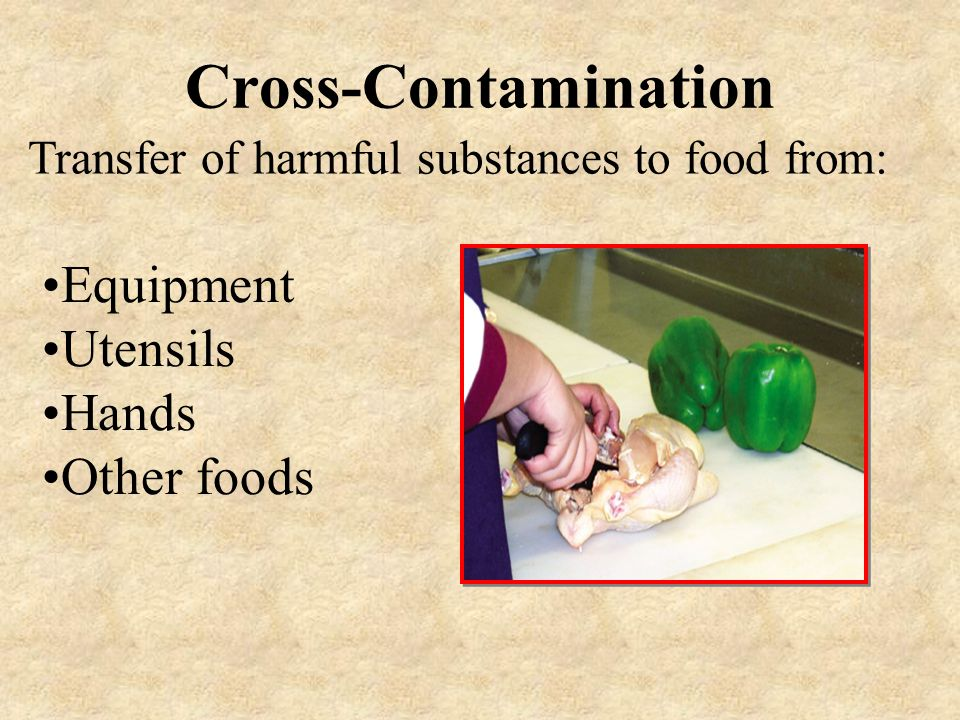 Transfer of harmful substances to food from:
