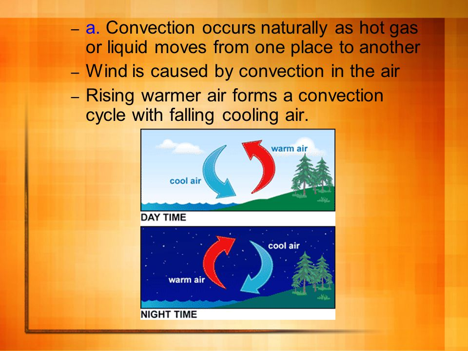a. Convection occurs naturally as hot gas or liquid moves from one place to another