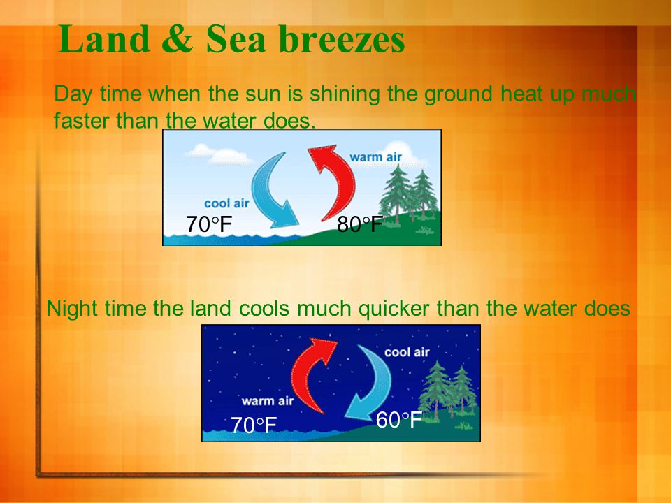 Land & Sea breezes Day time when the sun is shining the ground heat up much faster than the water does.