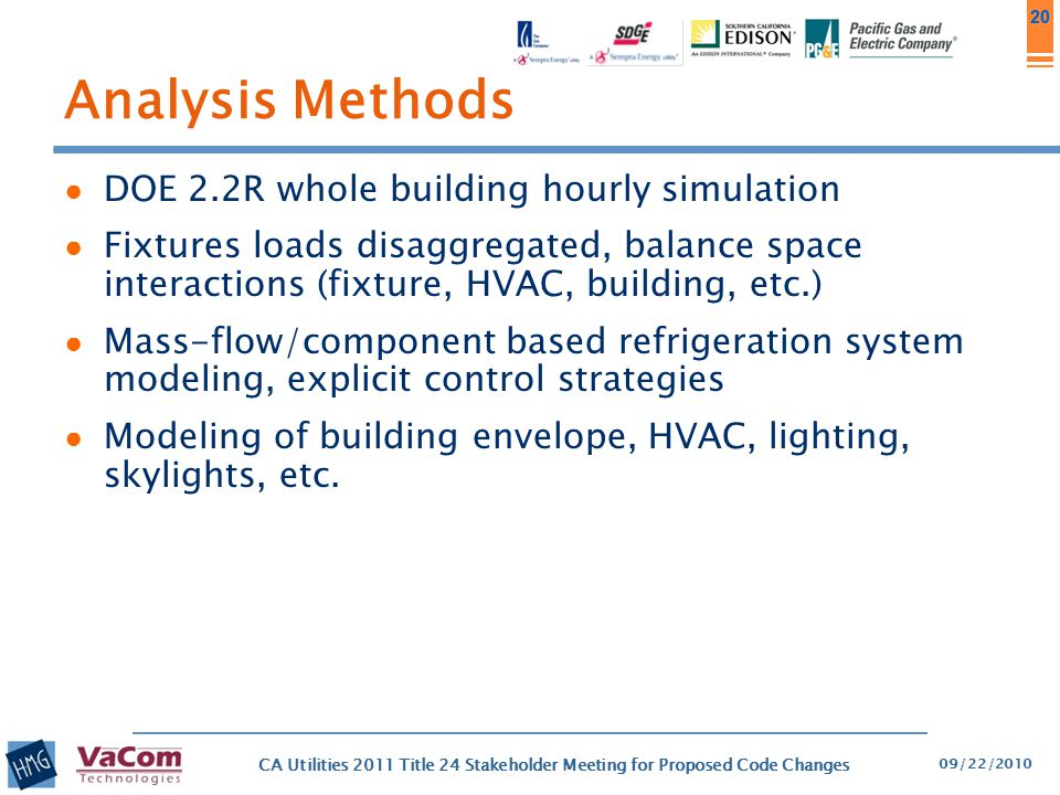 Analysis Methods DOE 2.2R whole building hourly simulation