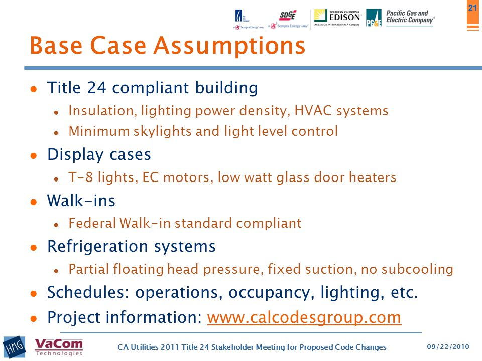 Base Case Assumptions Title 24 compliant building Display cases