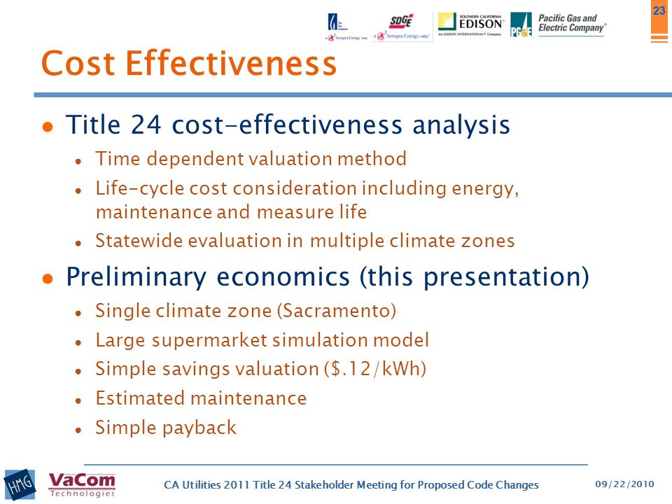 Cost Effectiveness Title 24 cost-effectiveness analysis