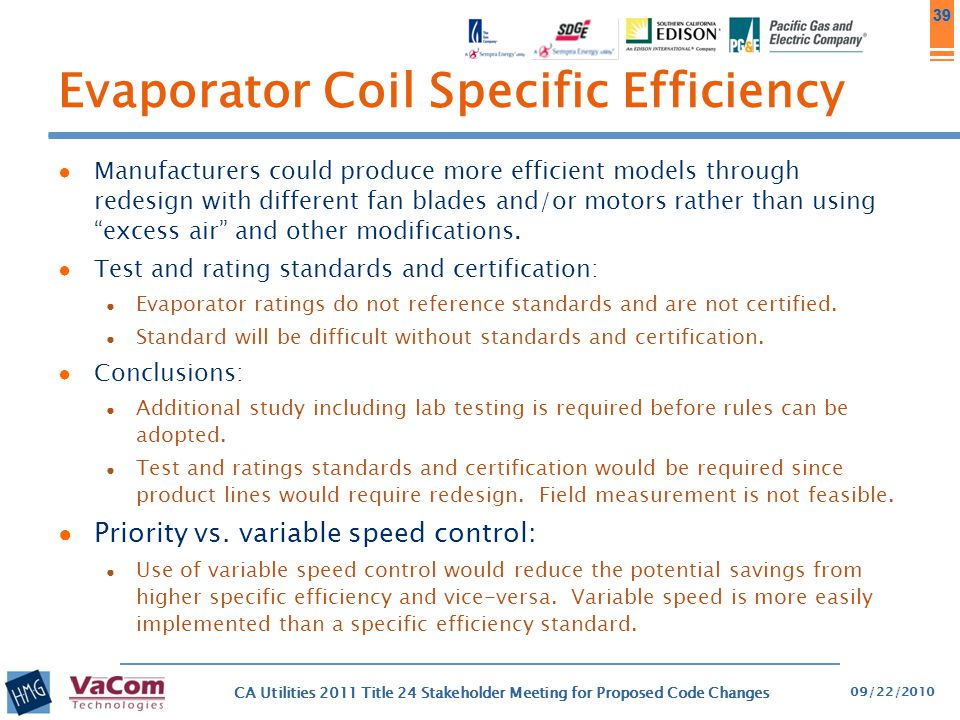 Evaporator Coil Specific Efficiency