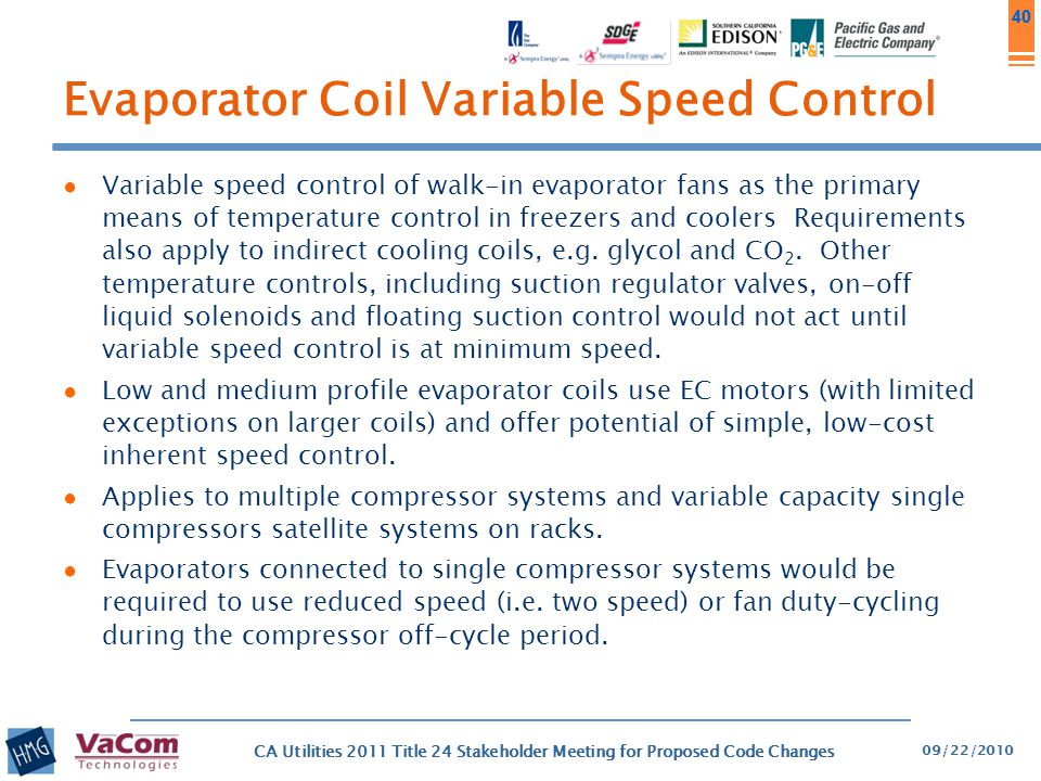 Evaporator Coil Variable Speed Control