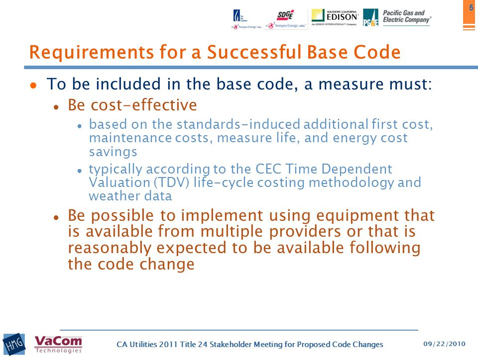 Requirements for a Successful Base Code