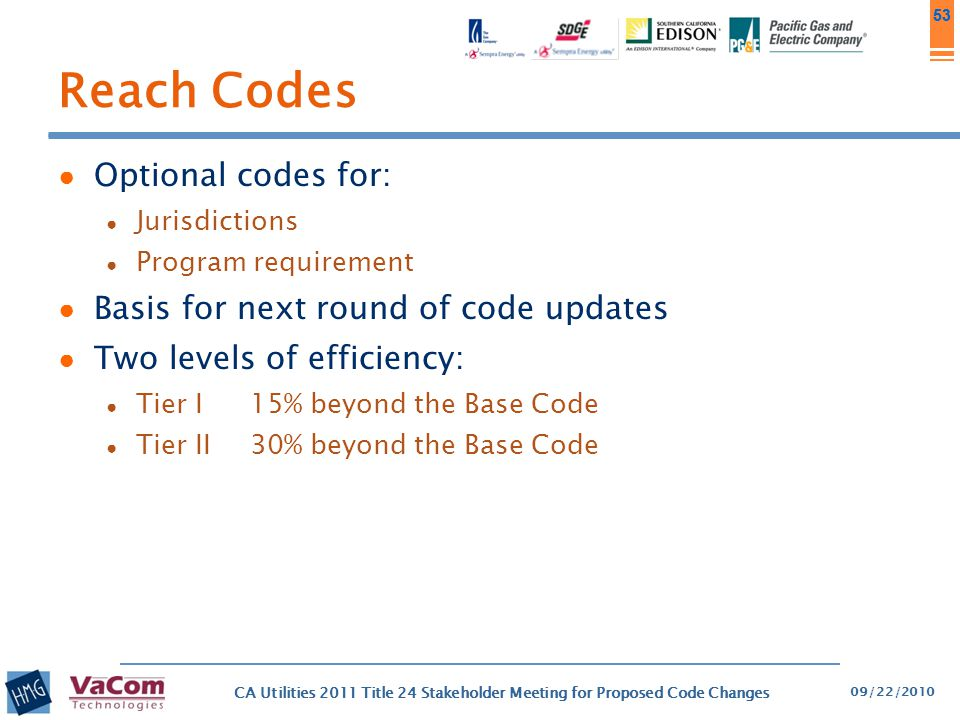 Reach Codes Optional codes for: Basis for next round of code updates