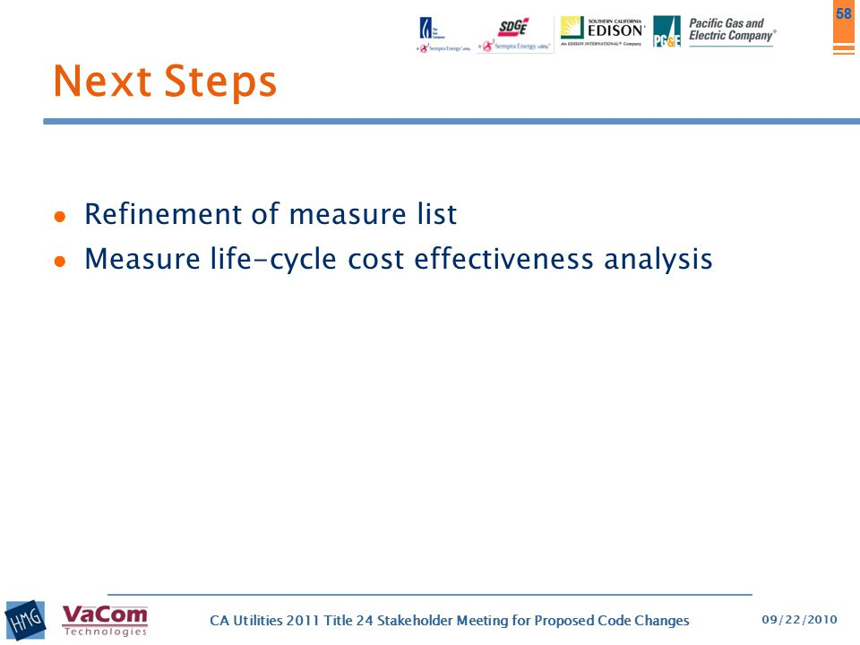 Next Steps Refinement of measure list