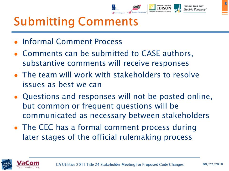 Submitting Comments Informal Comment Process