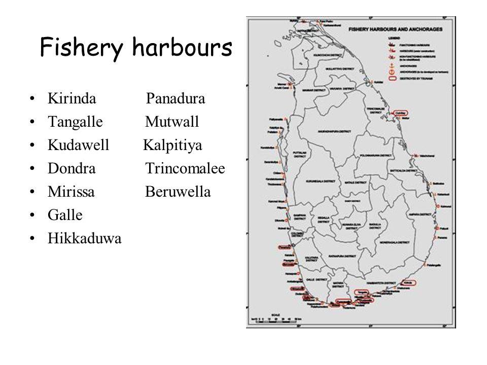 Fishery harbours Kirinda Panadura Tangalle Mutwall Kudawell Kalpitiya