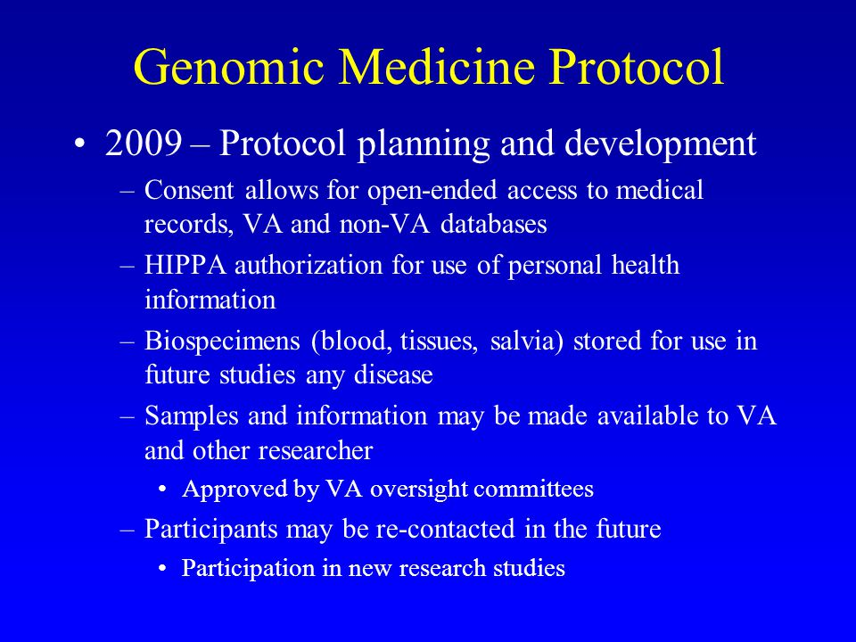 Genomic Medicine Protocol