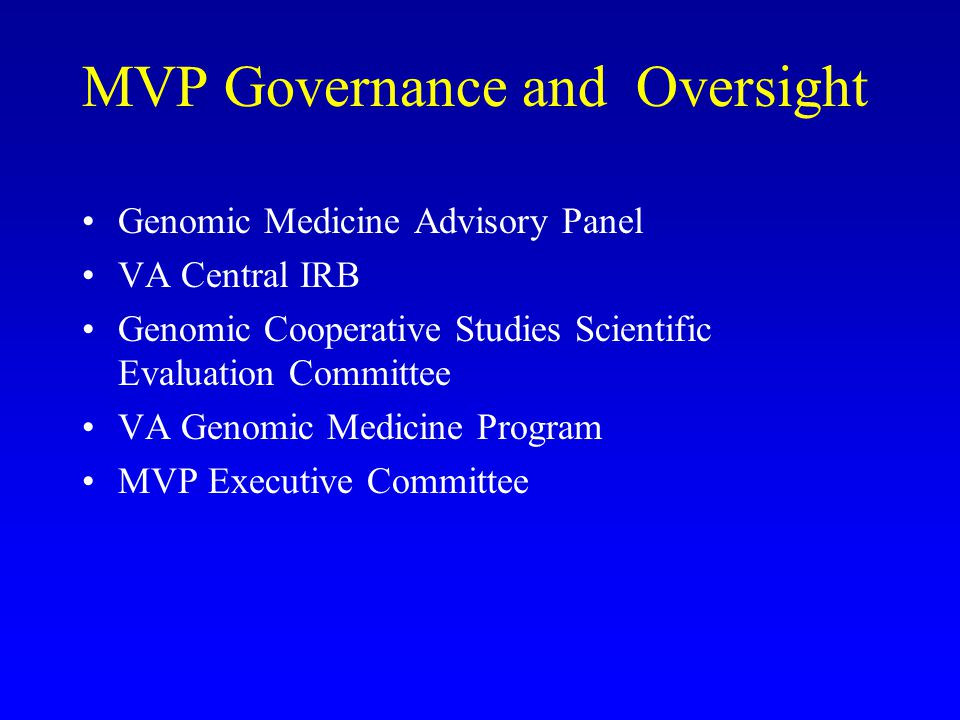 MVP Governance and Oversight