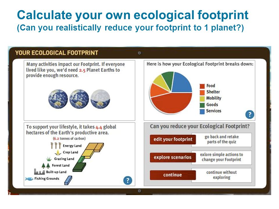 Calculate your own ecological footprint (Can you realistically reduce your footprint to 1 planet )