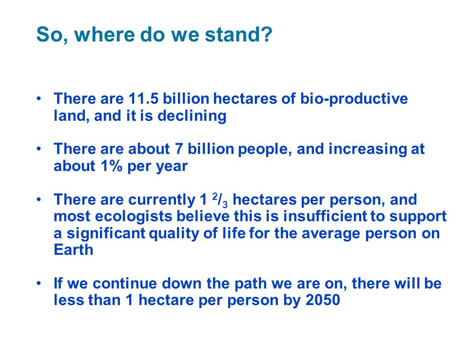 So, where do we stand There are 11.5 billion hectares of bio-productive land, and it is declining.