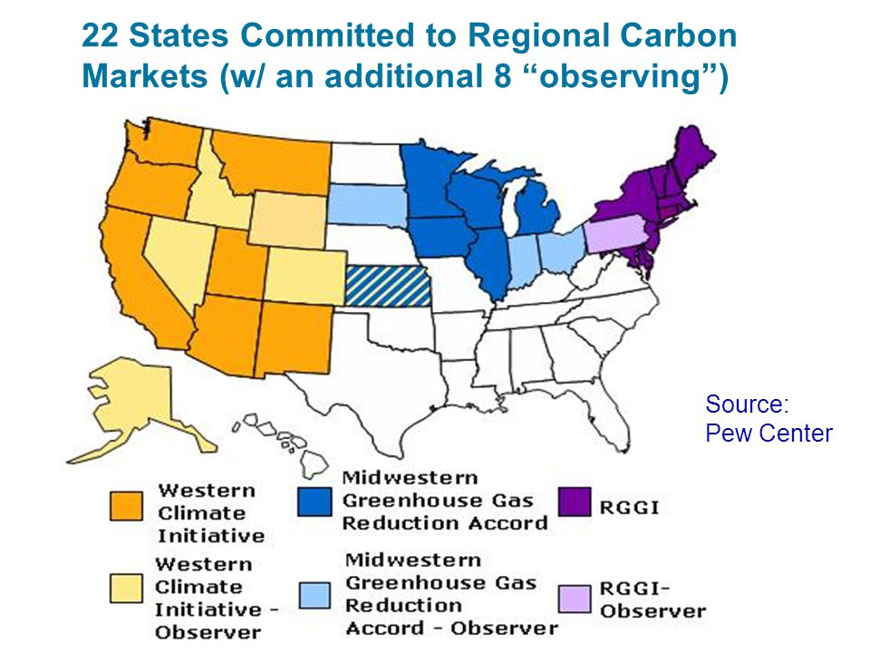 22 States Committed to Regional Carbon Markets (w/ an additional 8 observing )