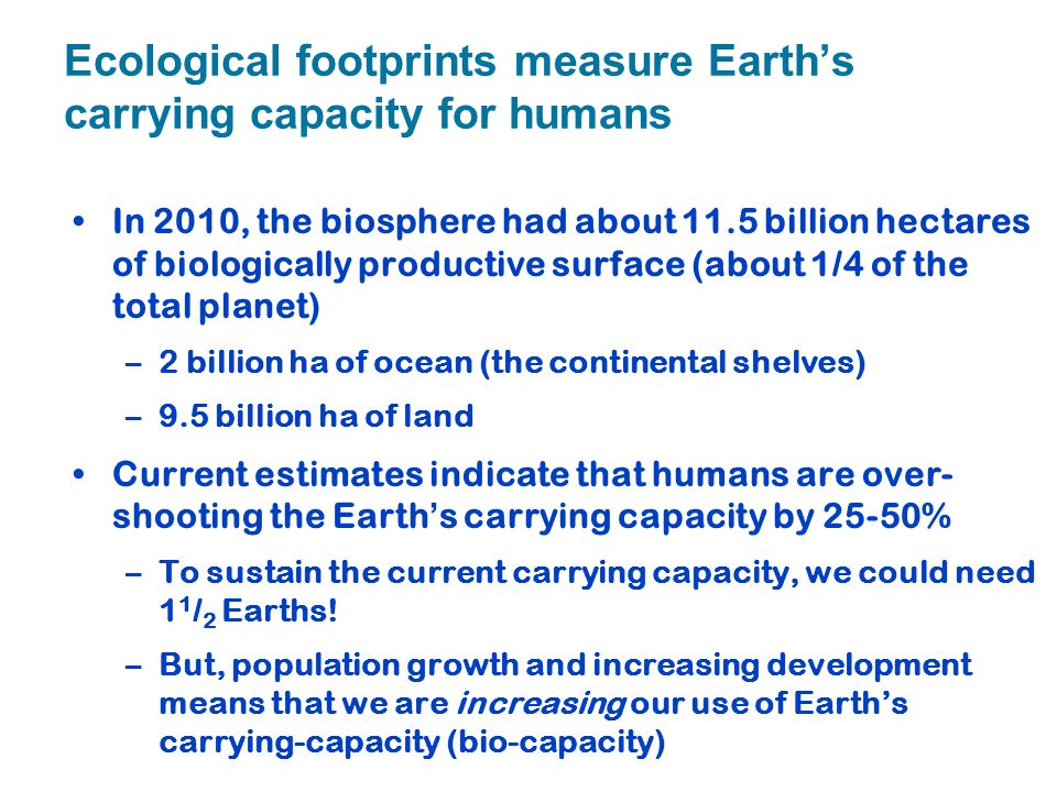 Ecological footprints measure Earth's carrying capacity for humans